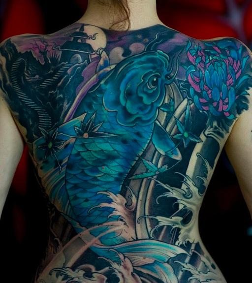 Tatuaggio carpa koi significato ed immagini passionetattoo for Blue coy fish
