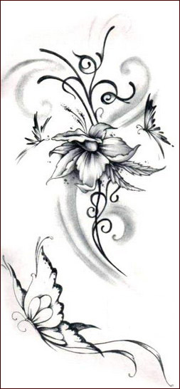 Lily Tribal Tattoo Designs