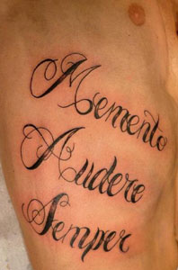 Memento audere semper tattoo