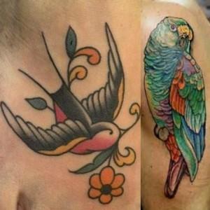 tatuaggi a colori rondine pappagallo